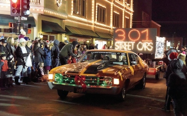 Classic car in a Christmas parade