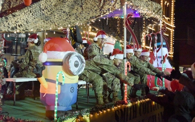 National Guard unit Christmas parade float